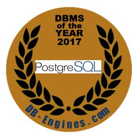 PostgreSQL officieel DBMS van het jaar 2017