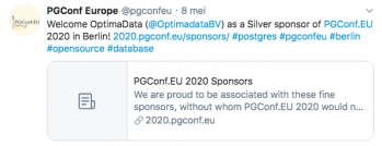 PG Conf EU proud to be associated with these fine sponsors like OptimaData