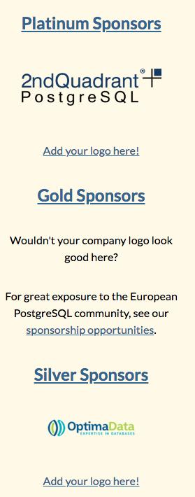 OptimaData de eerste sponsor voor PGConfEU 2020